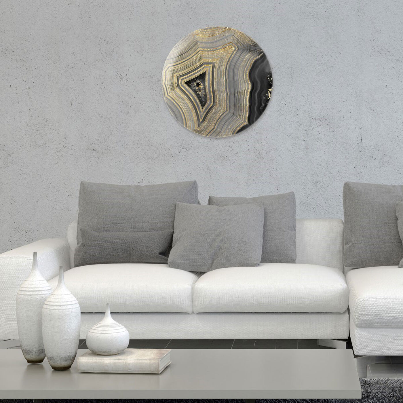 Hanging view of Dubbio Geode Round featuring abstract and crystals art.