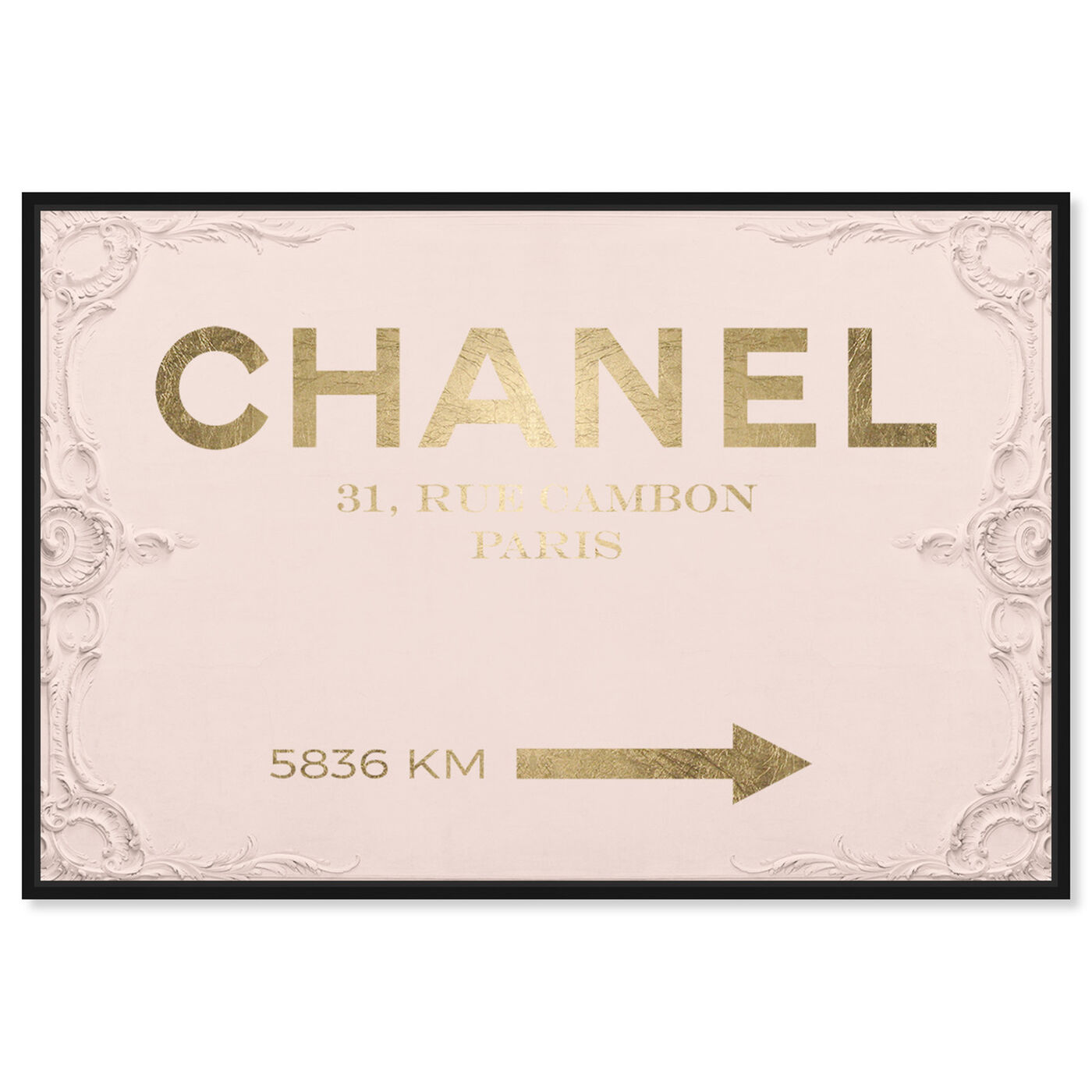 Front view of Couture Road Sign Rococo Gold Blush featuring fashion and glam and road signs art.