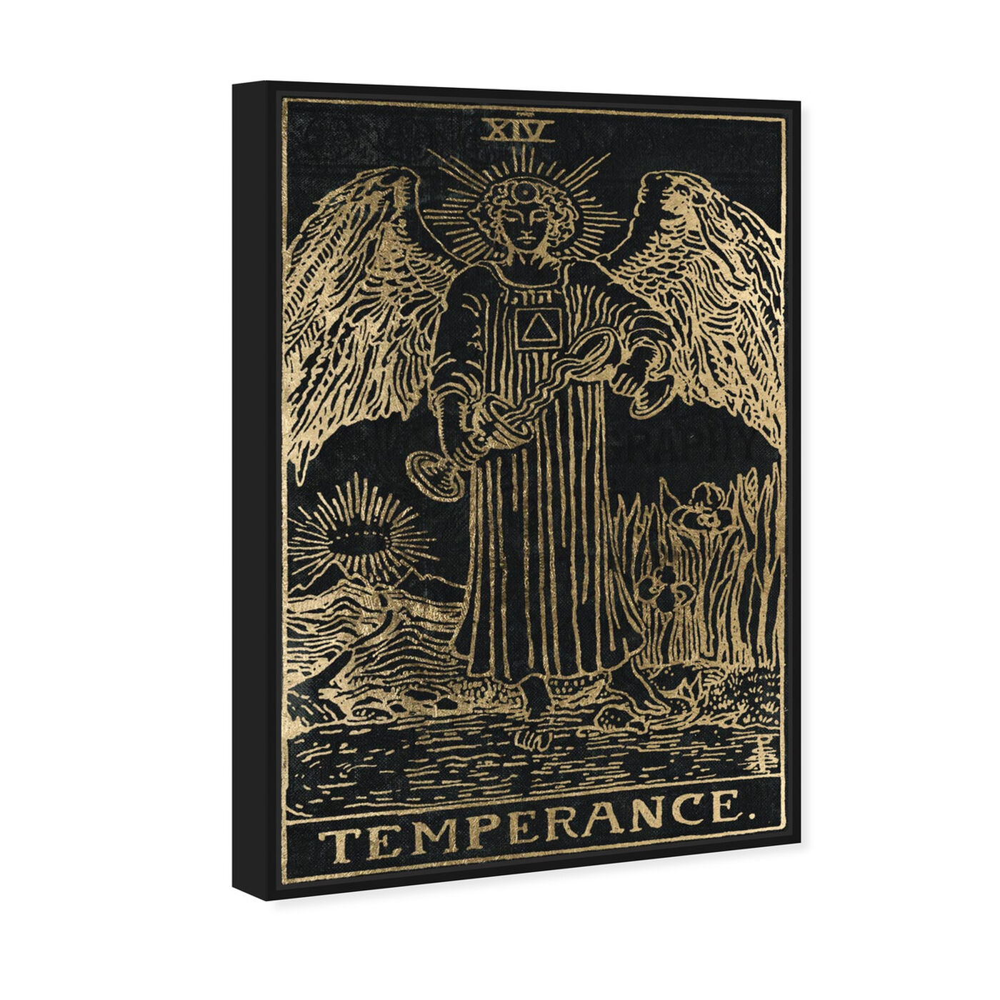 Angled view of Temperance Tarot featuring spiritual and religious and astrology art.