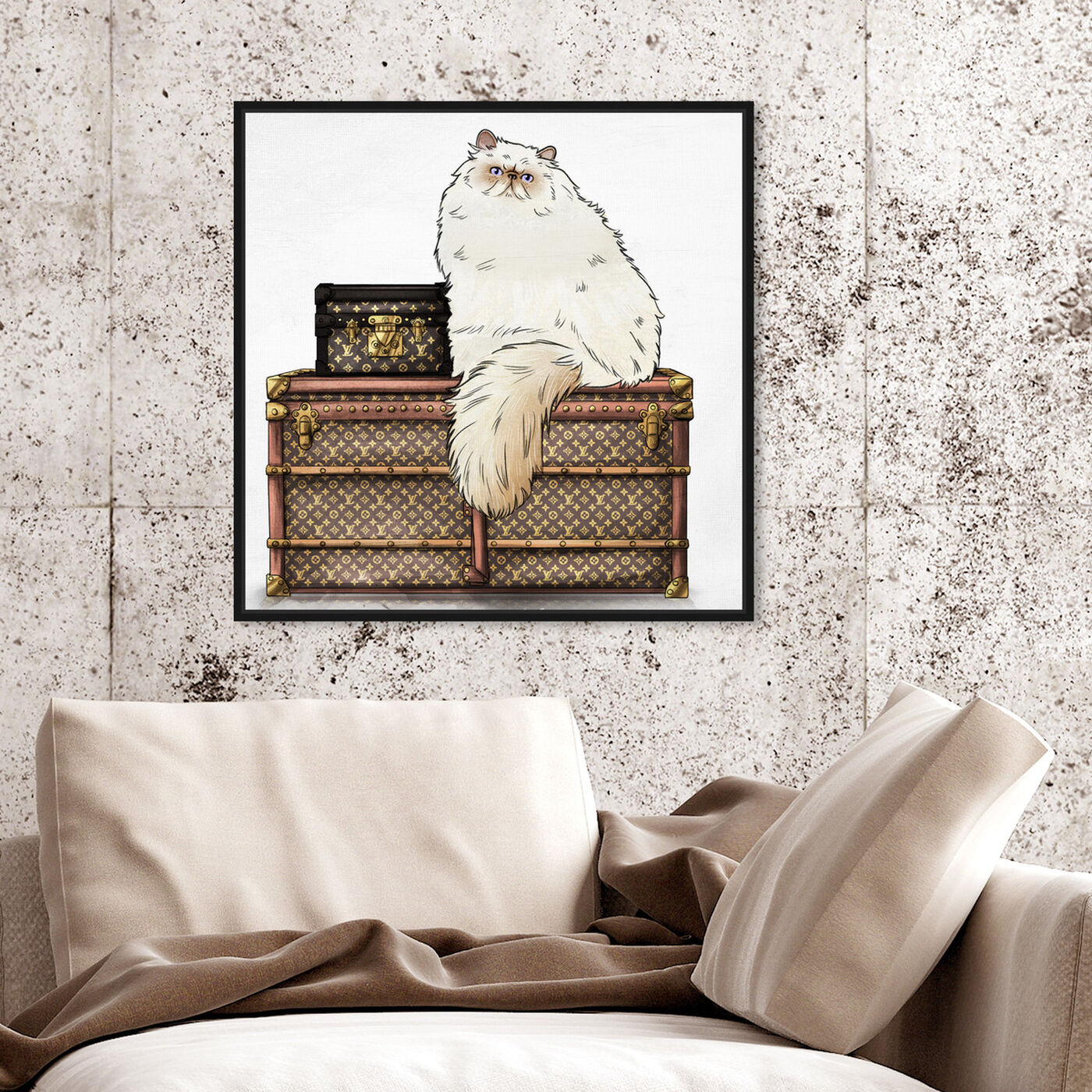 Hanging view of Persian Trunks featuring fashion and glam and travel essentials art.