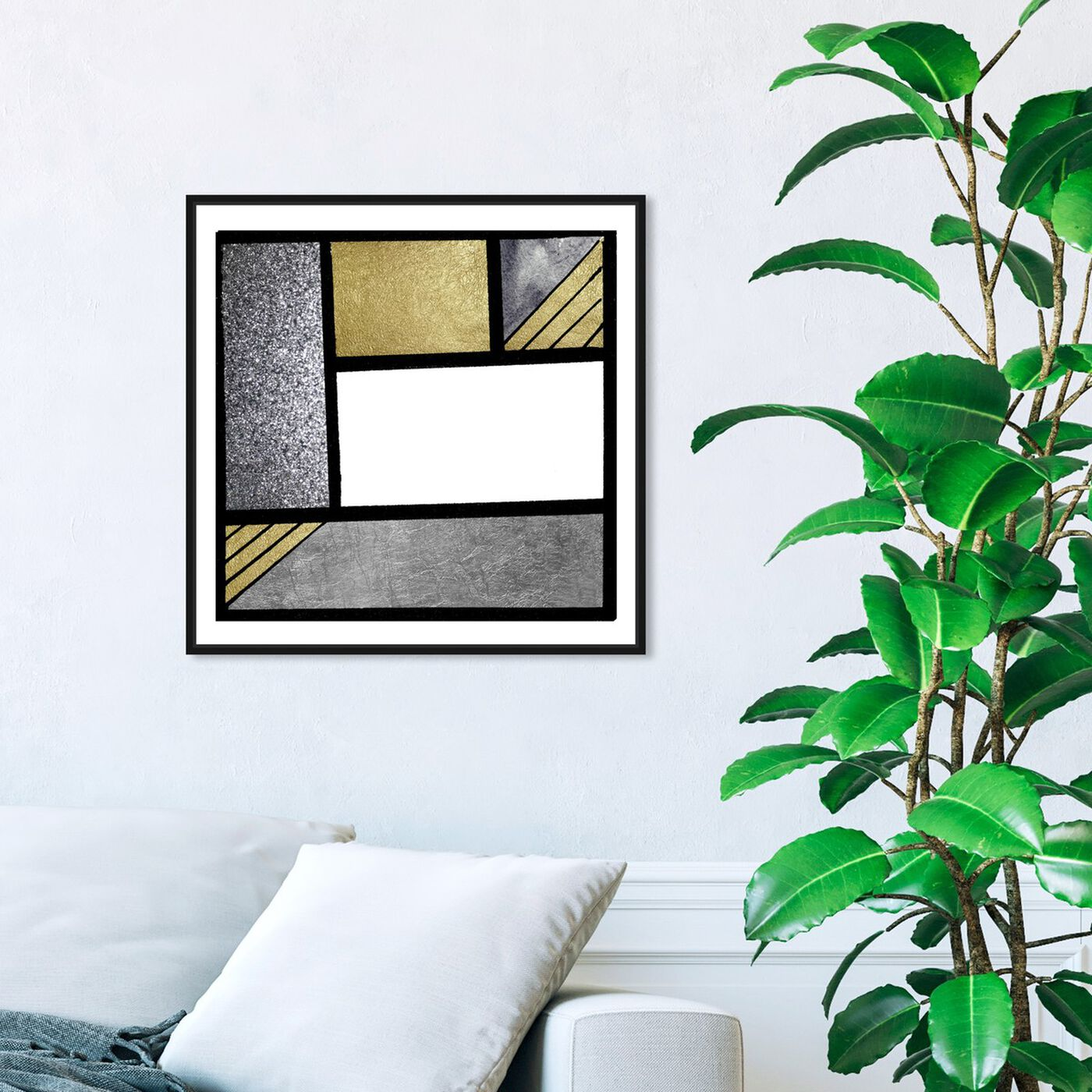 Hanging view of Gold Feeling featuring abstract and geometric art.
