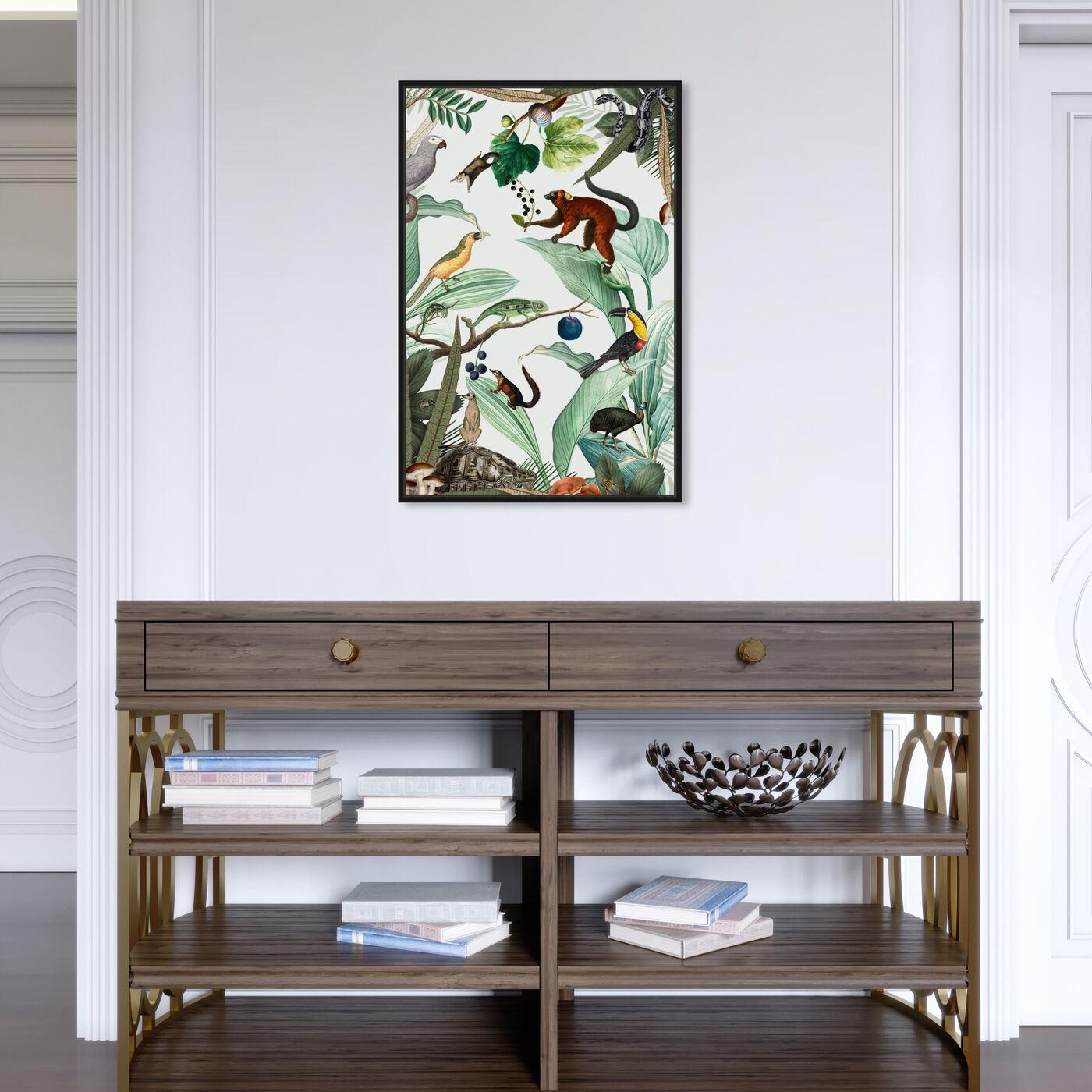 Hanging view of La Jungla del Fruto featuring animals and birds art.