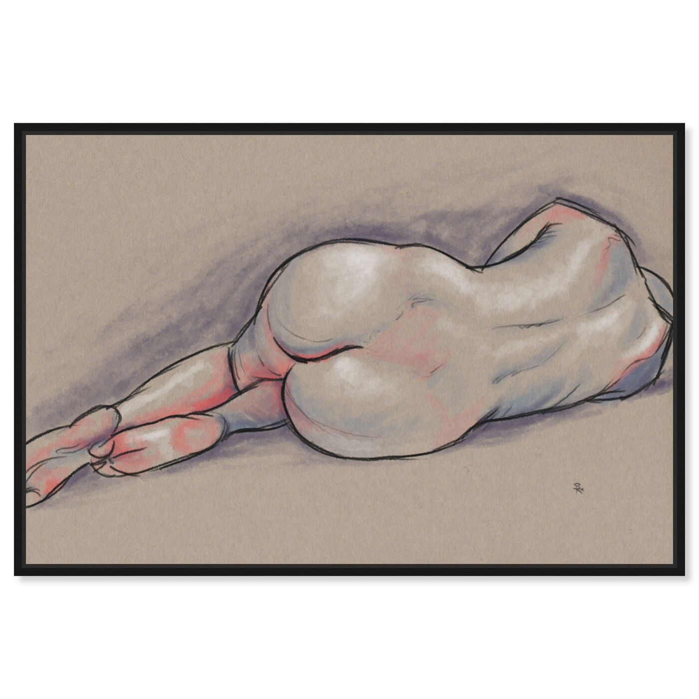 Front view of Nude in Pastels II featuring people and portraits and nudes art.