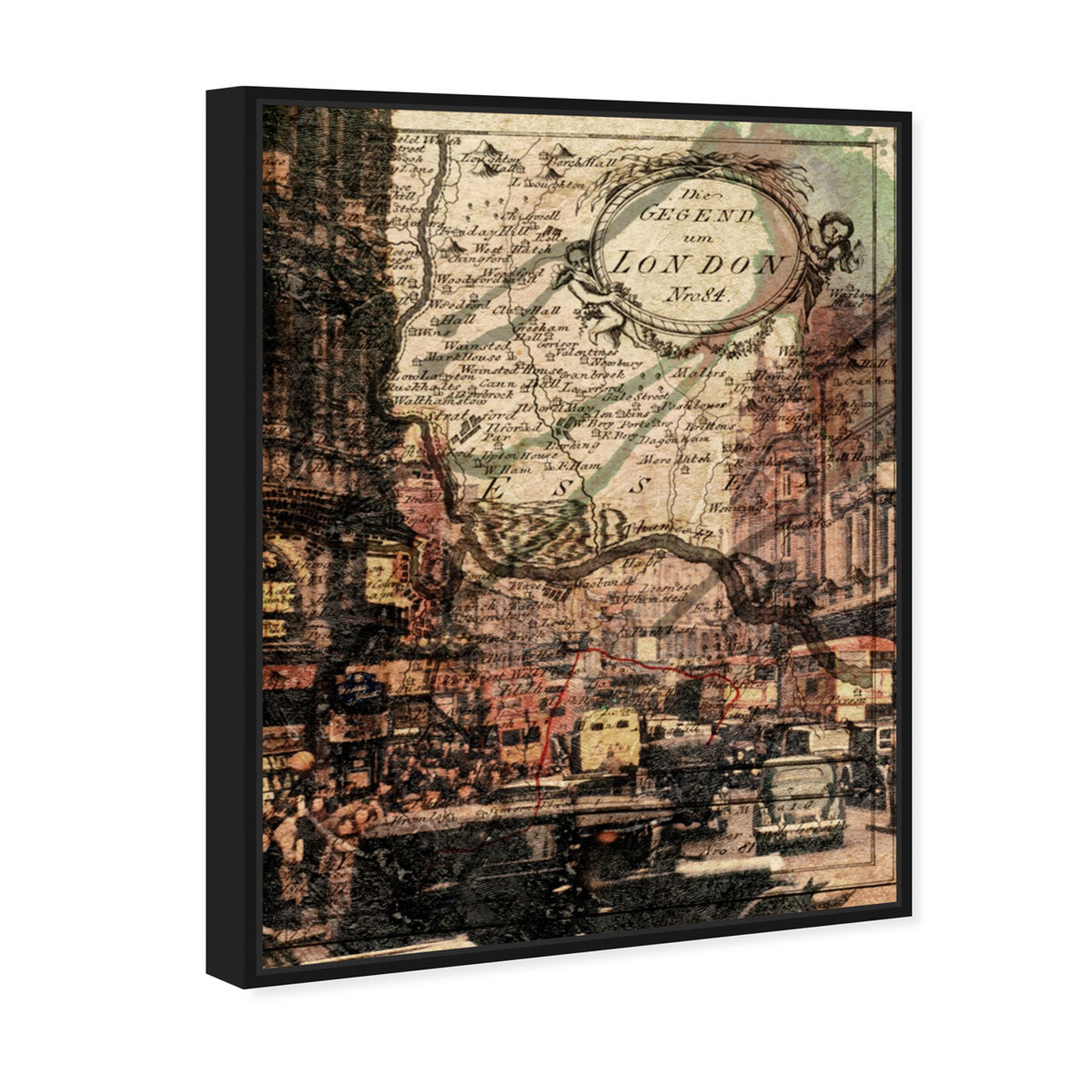 Angled view of London Classic featuring maps and flags and european cities maps art.