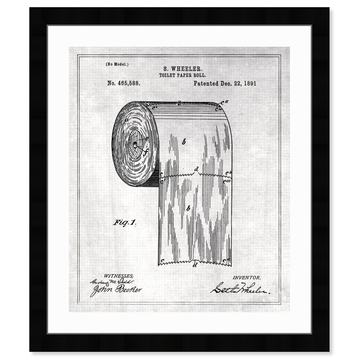 Front view of Toilet-Paper Roll 1891 II featuring bath and laundry and bath art.
