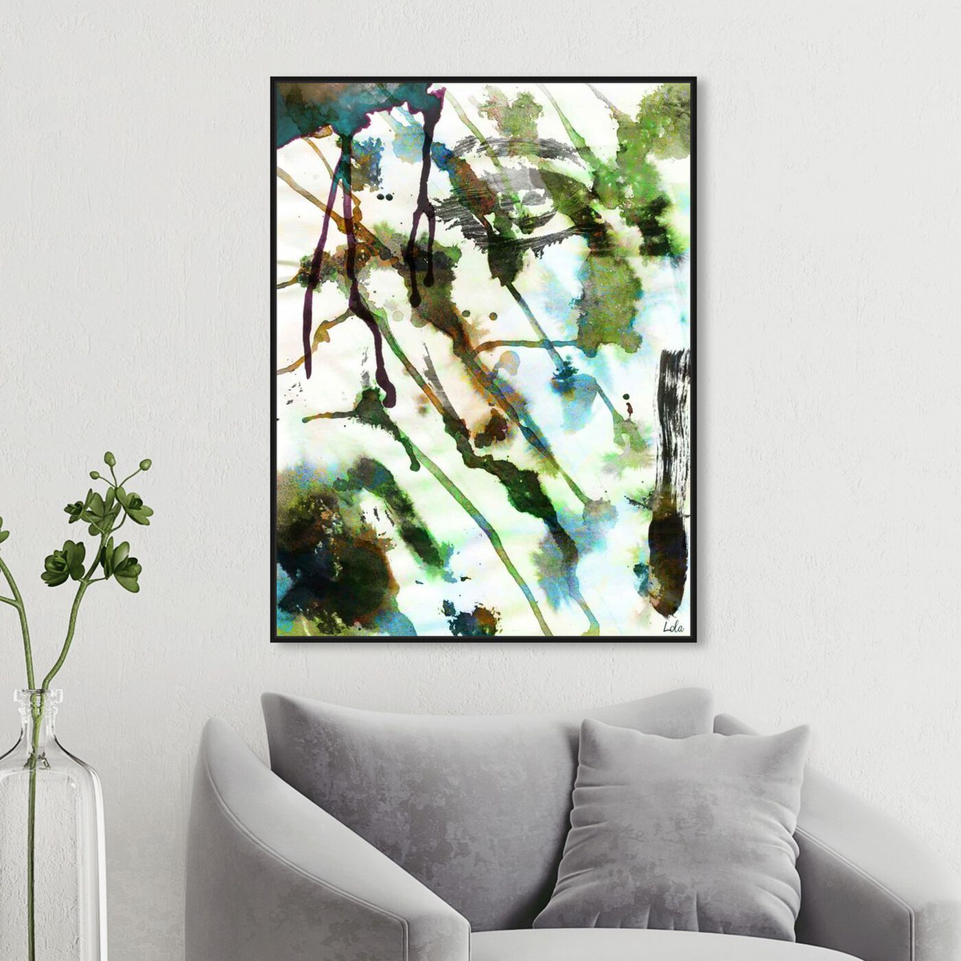 Hanging view of Musk featuring abstract and watercolor art.