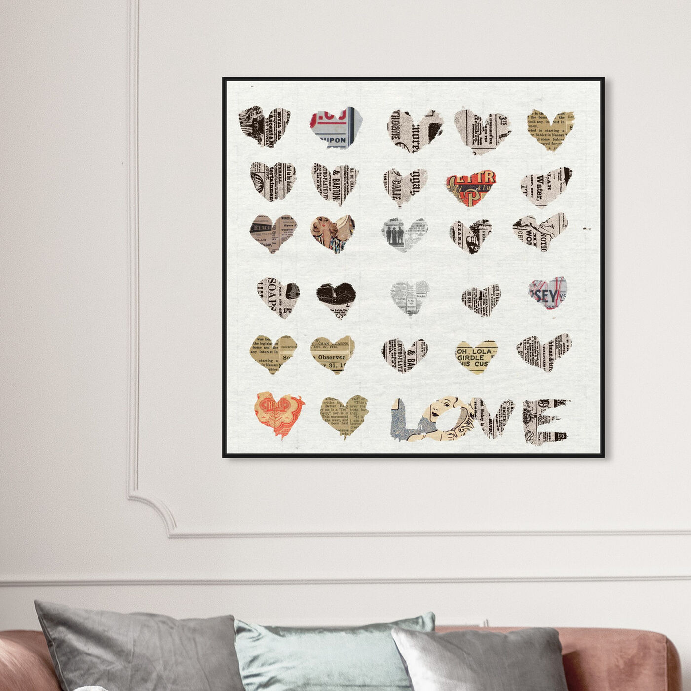 Hanging view of In The Papers I featuring fashion and glam and hearts art.