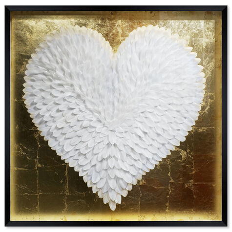 White and Gold Feather Heart
