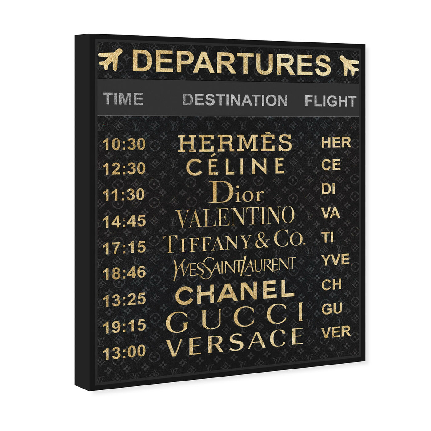 Angled view of Luxe Departures featuring fashion and glam and travel essentials art.