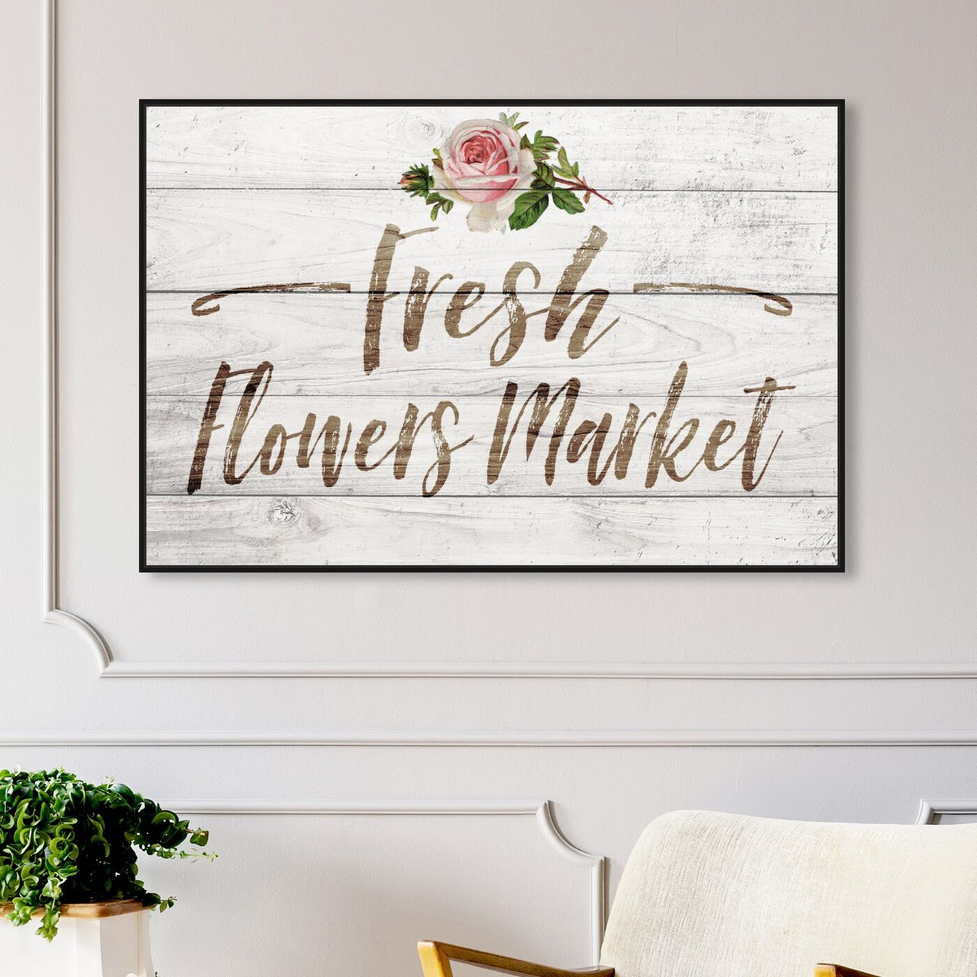 Hanging view of Fresh Flowers Market featuring typography and quotes and quotes and sayings art.