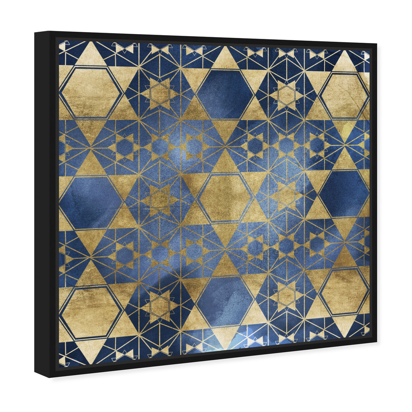 Angled view of Golden Blue Star Decorative featuring abstract and patterns art.