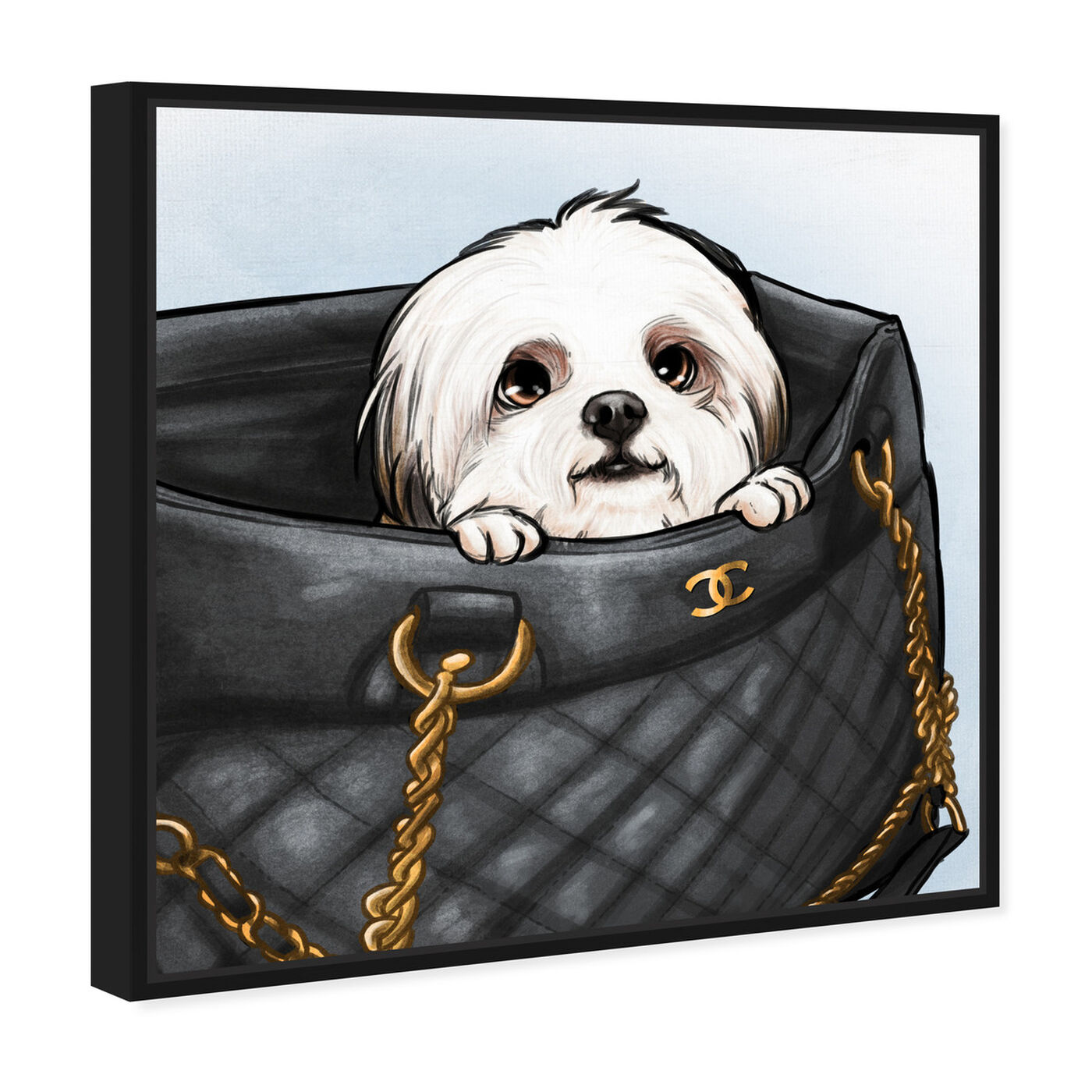Angled view of Peek a Boo Shih Tzu featuring fashion and glam and handbags art.