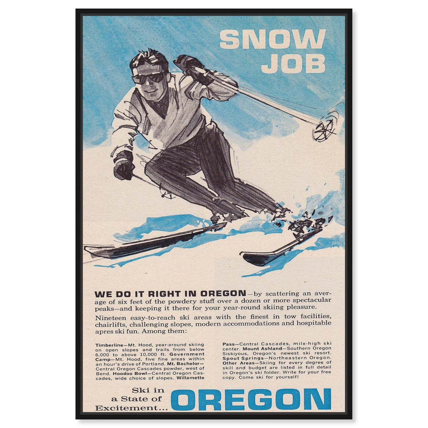 Front view of Snow Job featuring sports and teams and skiing art.