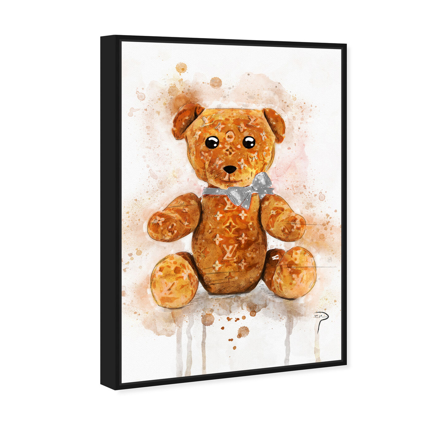 Angled view of Pily Montiel - Teddy Bear featuring symbols and objects and toys art.