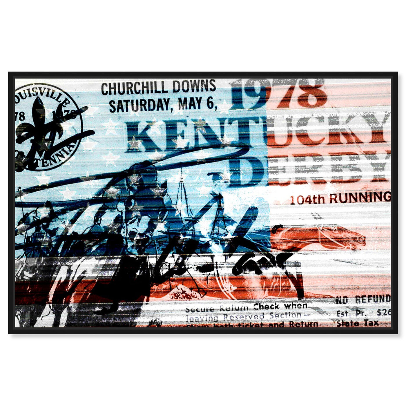 Front view of 1978 Kentucky Derby featuring world and countries and american countries art.