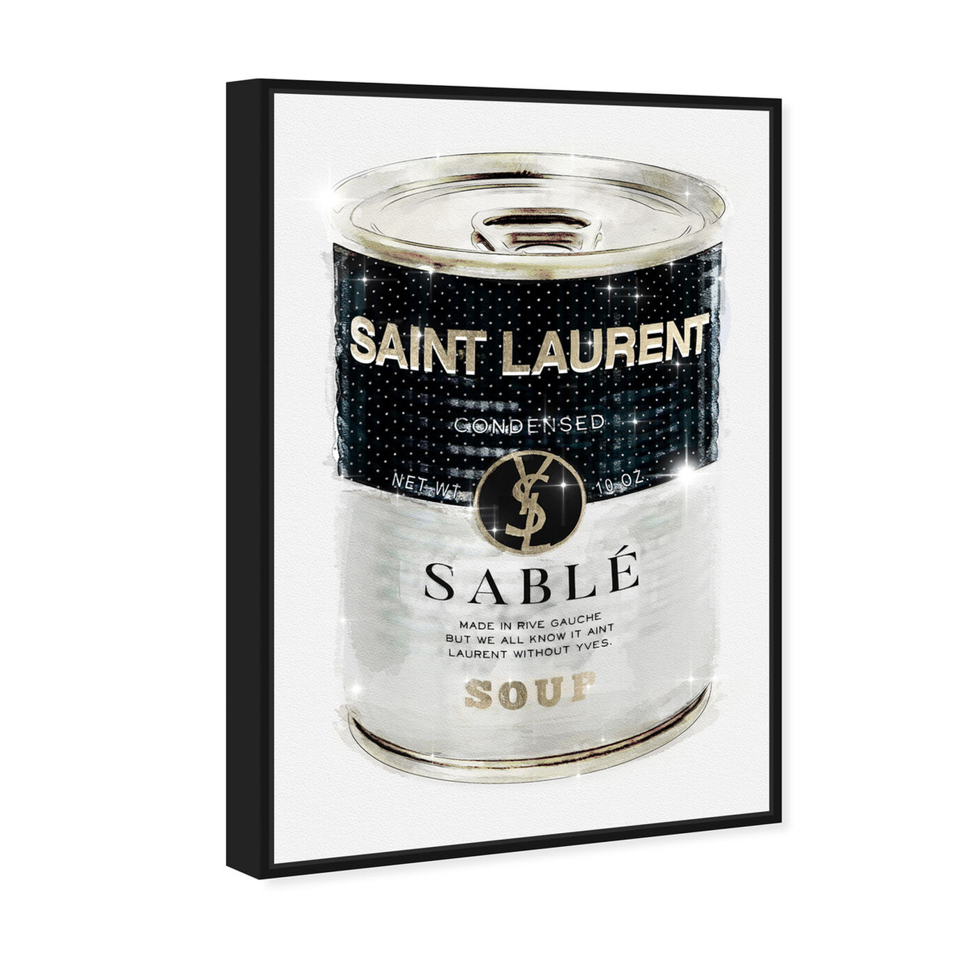 Angled view of Rive Sable Soup Can Silver featuring fashion and glam and cans art.