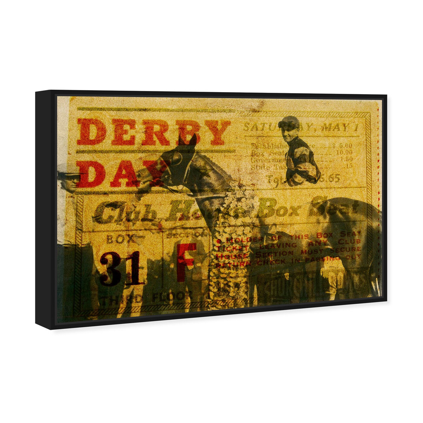 Angled view of Derby Day 1943 featuring advertising and posters art.