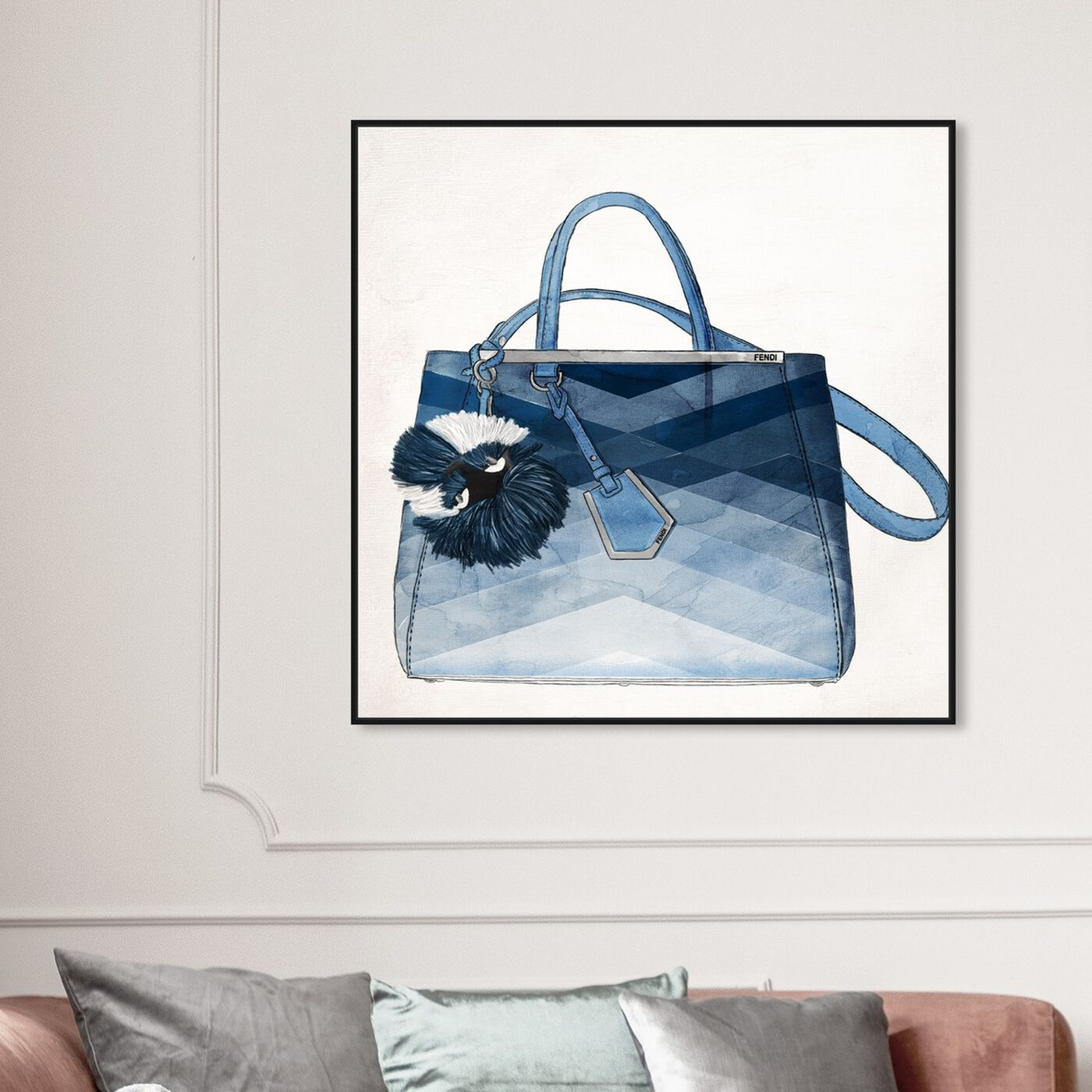 Hanging view of Oh My Gosh It's Blue featuring fashion and glam and handbags art.