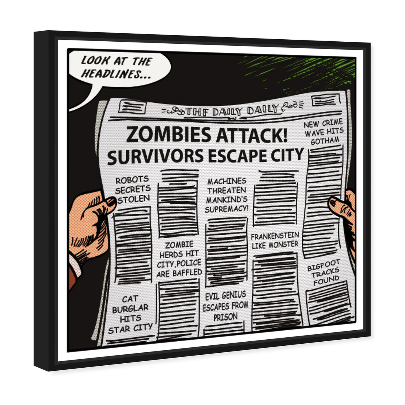 Angled view of Look At The Headlines featuring advertising and comics art.