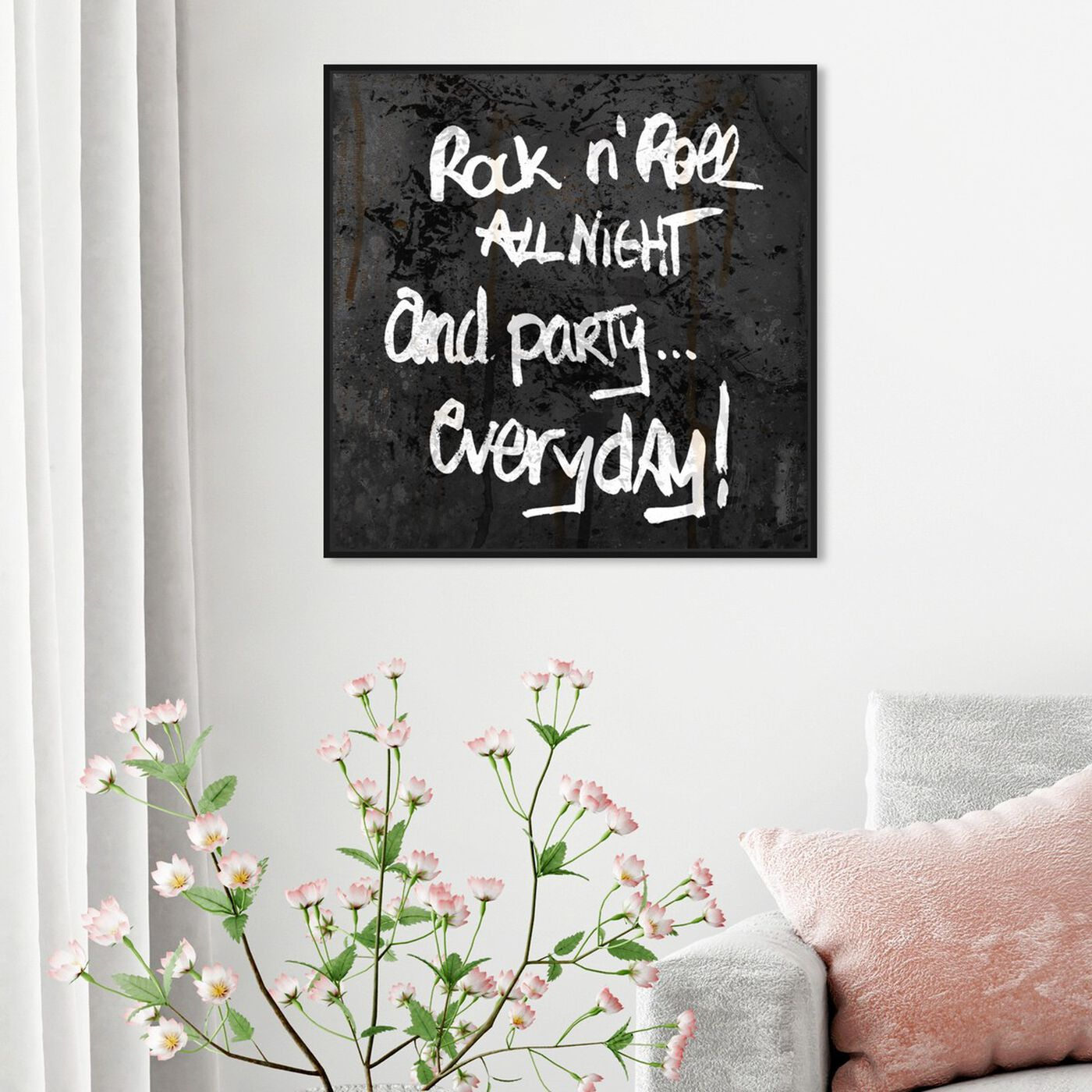 Hanging view of All Night featuring typography and quotes and quotes and sayings art.