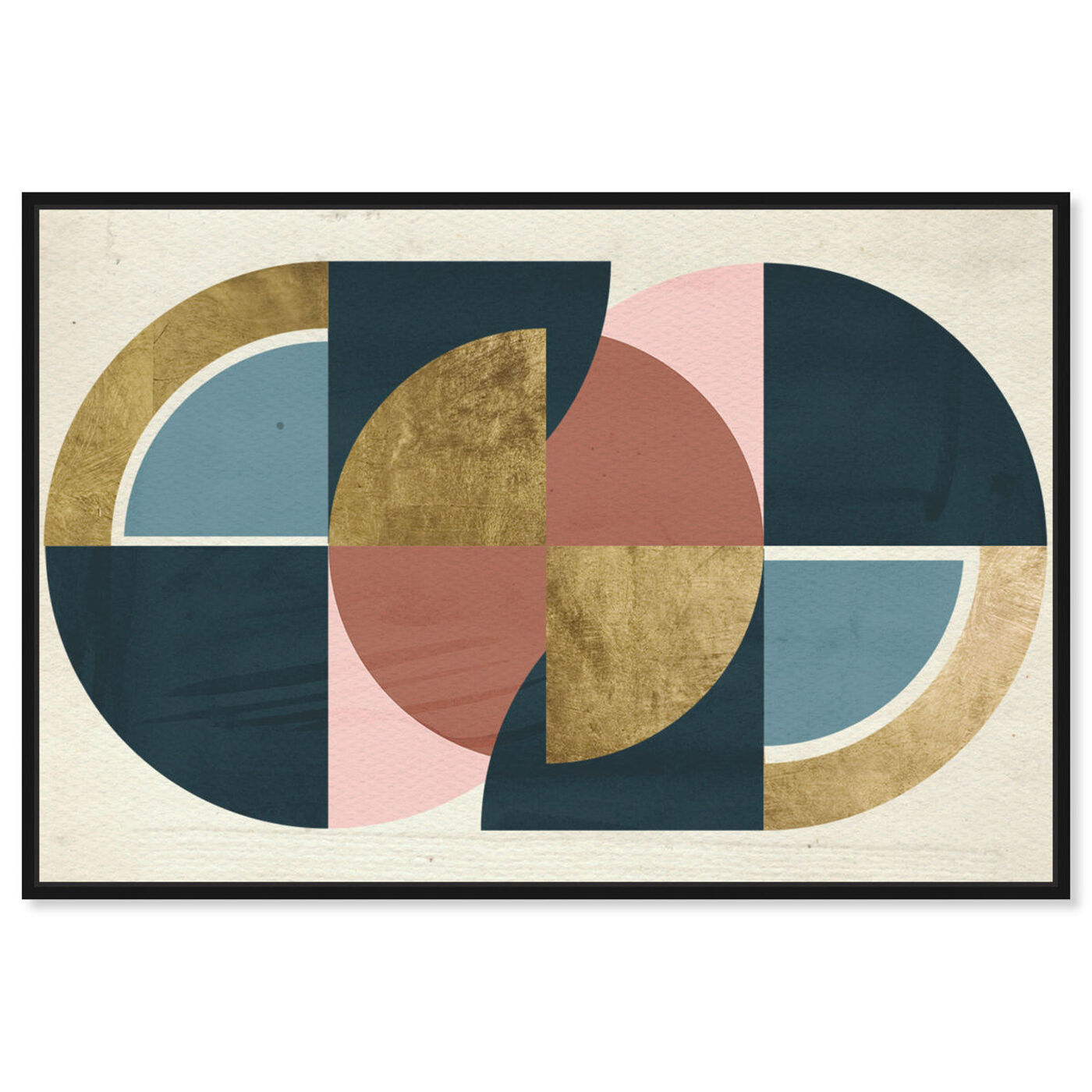 Front view of Rotating Puzzle Spheres III Gold featuring abstract and geometric art.