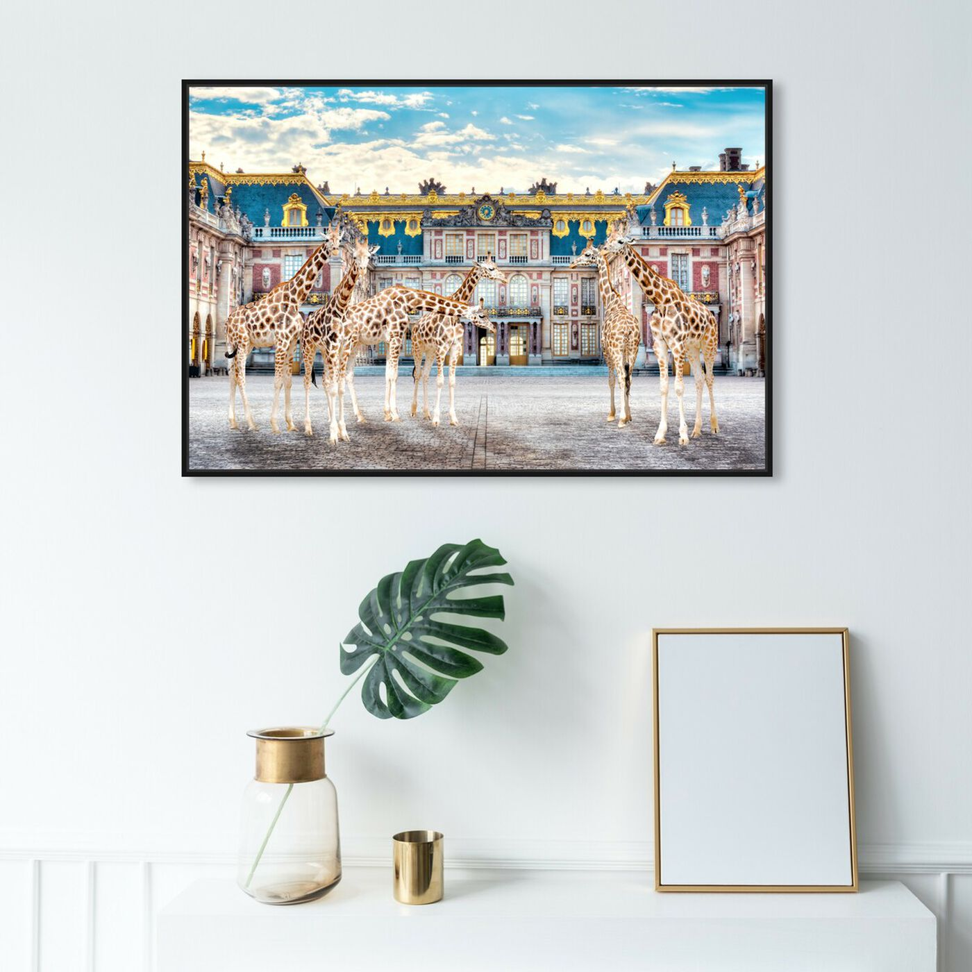 Hanging view of Giraffe Palace Assembly featuring animals and zoo and wild animals art.