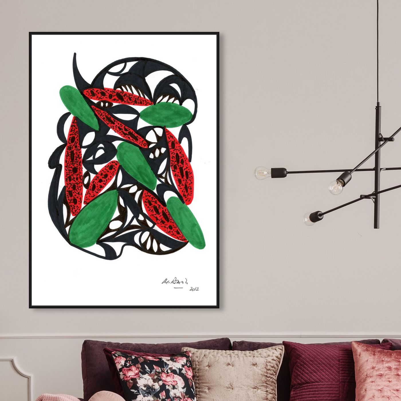 Hanging view of Watermelon Still Life featuring abstract and shapes art.