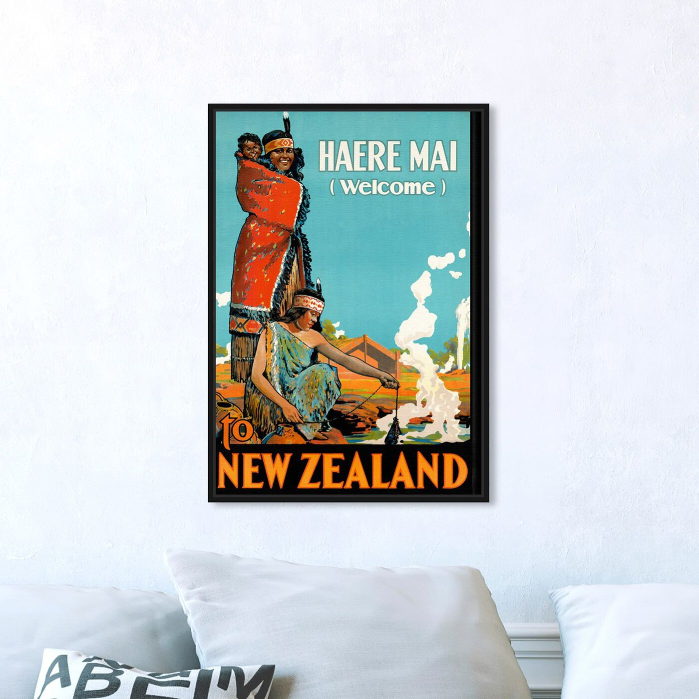 Hanging view of New Zealand featuring advertising and posters art.