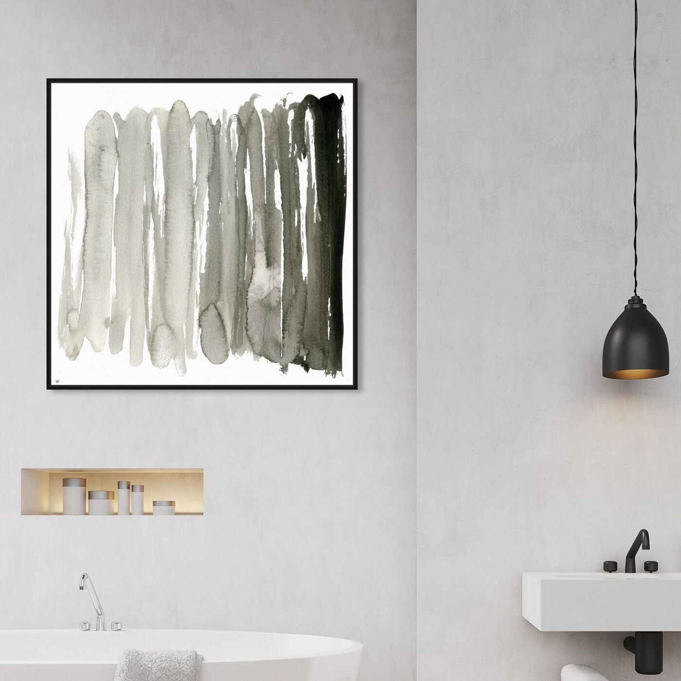 Hanging view of Ecleco Minimalista featuring abstract and watercolor art.