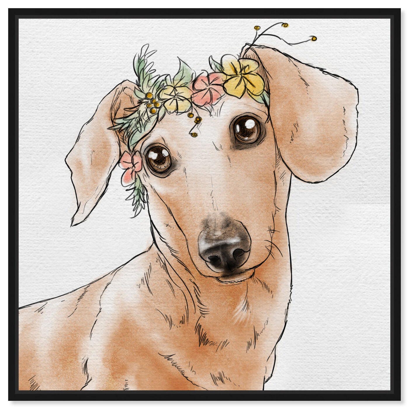 Front view of Floral Crown Dachshund featuring animals and dogs and puppies art.