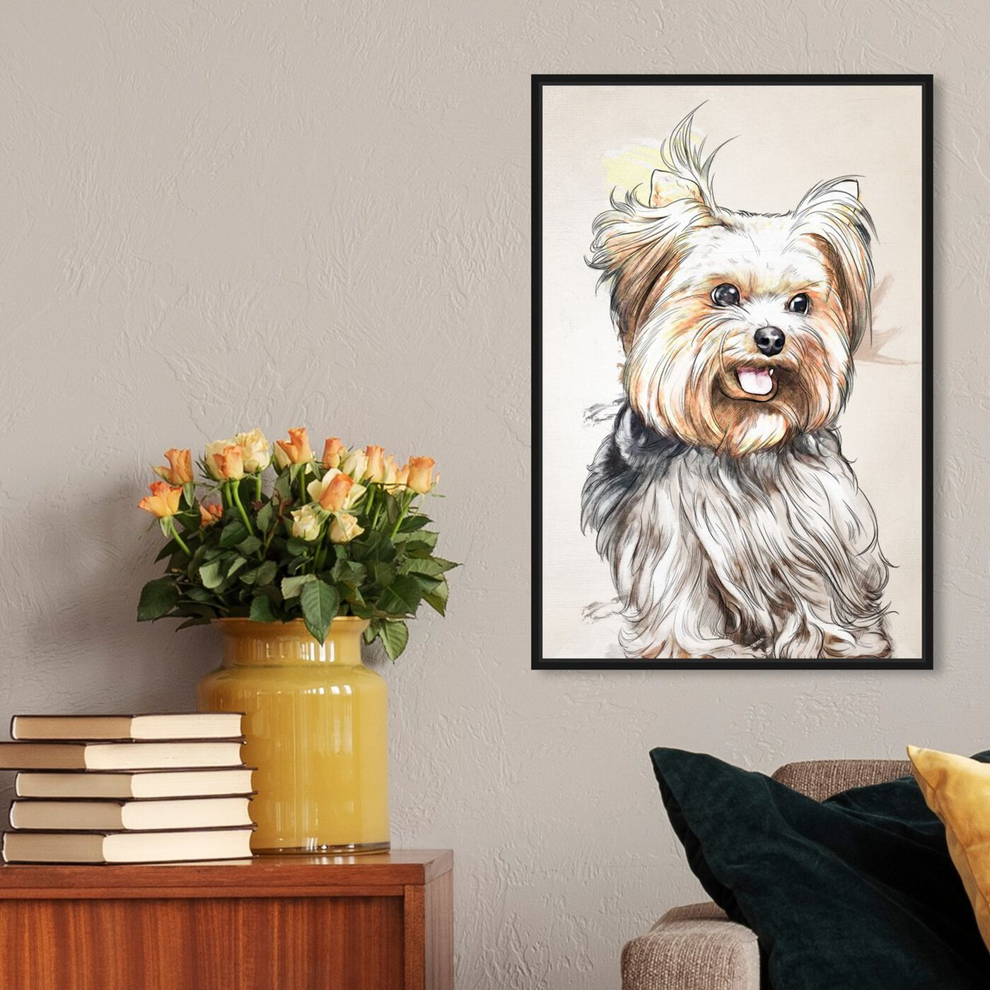 Hanging view of Yorkie Watercolor featuring animals and dogs and puppies art.