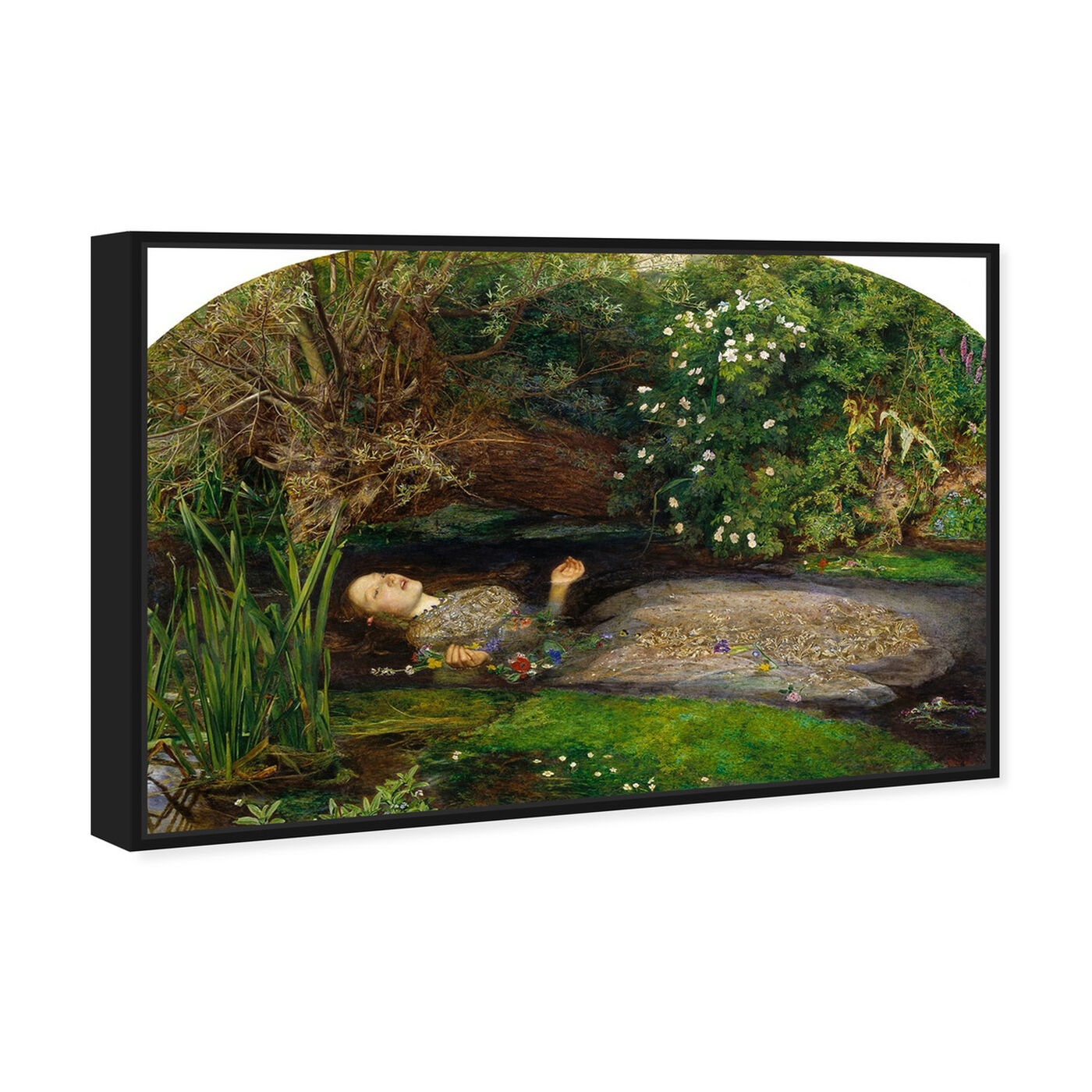 Angled view of Millais - Ophelia featuring classic and figurative and impressionism art.