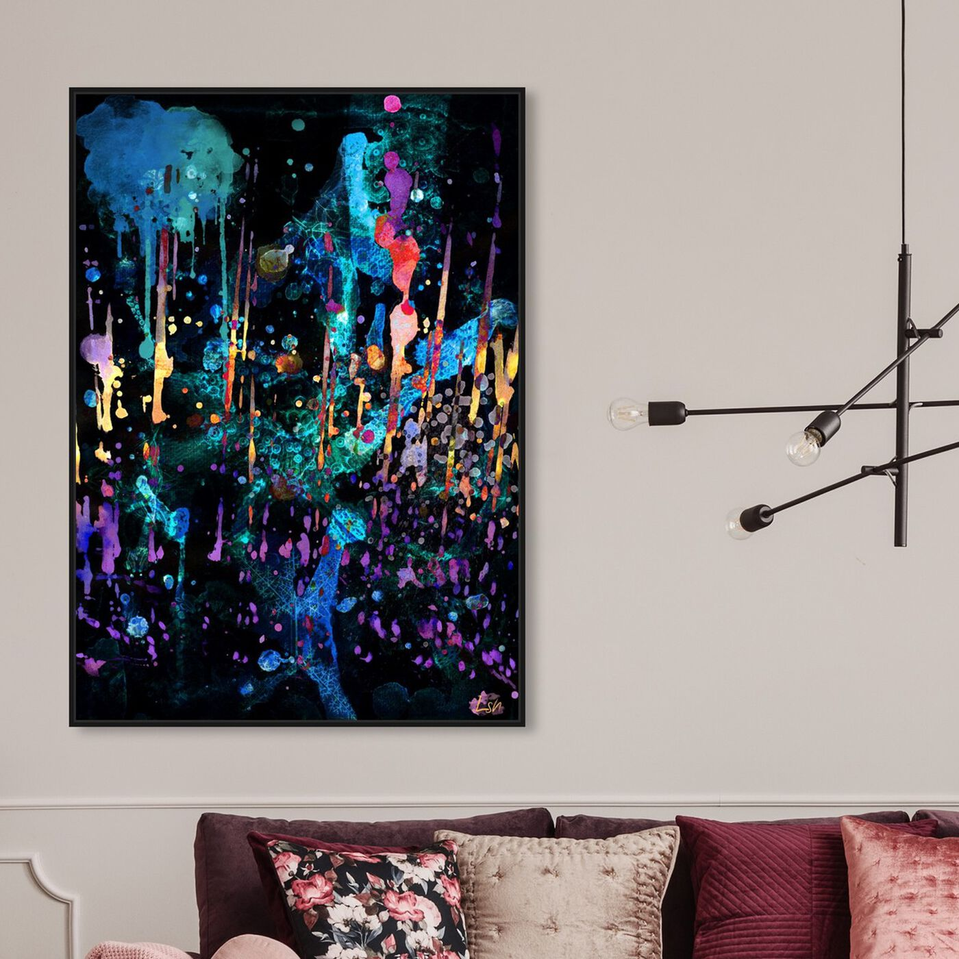 Hanging view of Darkest Hour featuring abstract and paint art.
