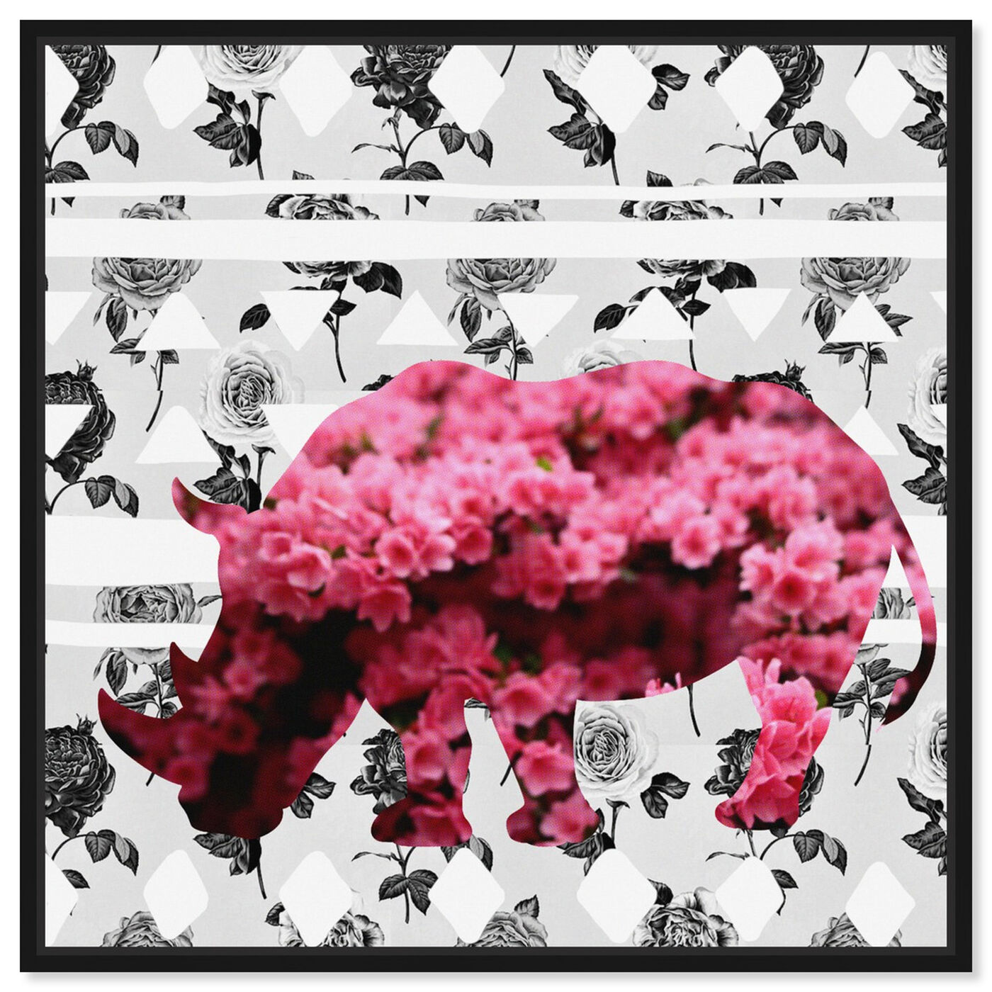 Front view of Spring Rhino featuring animals and zoo and wild animals art.