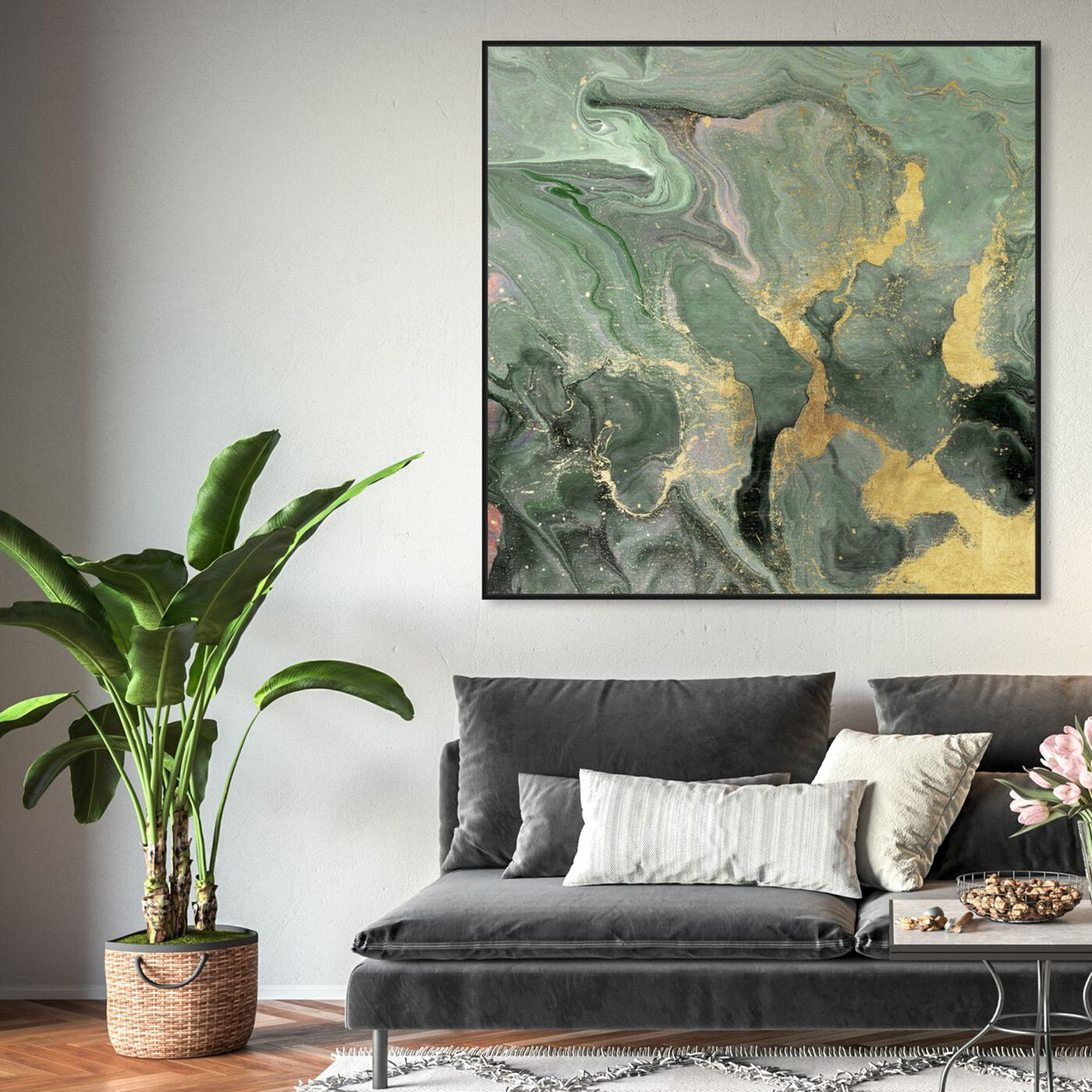 Hanging view of Jade Cosmos featuring abstract and crystals art.