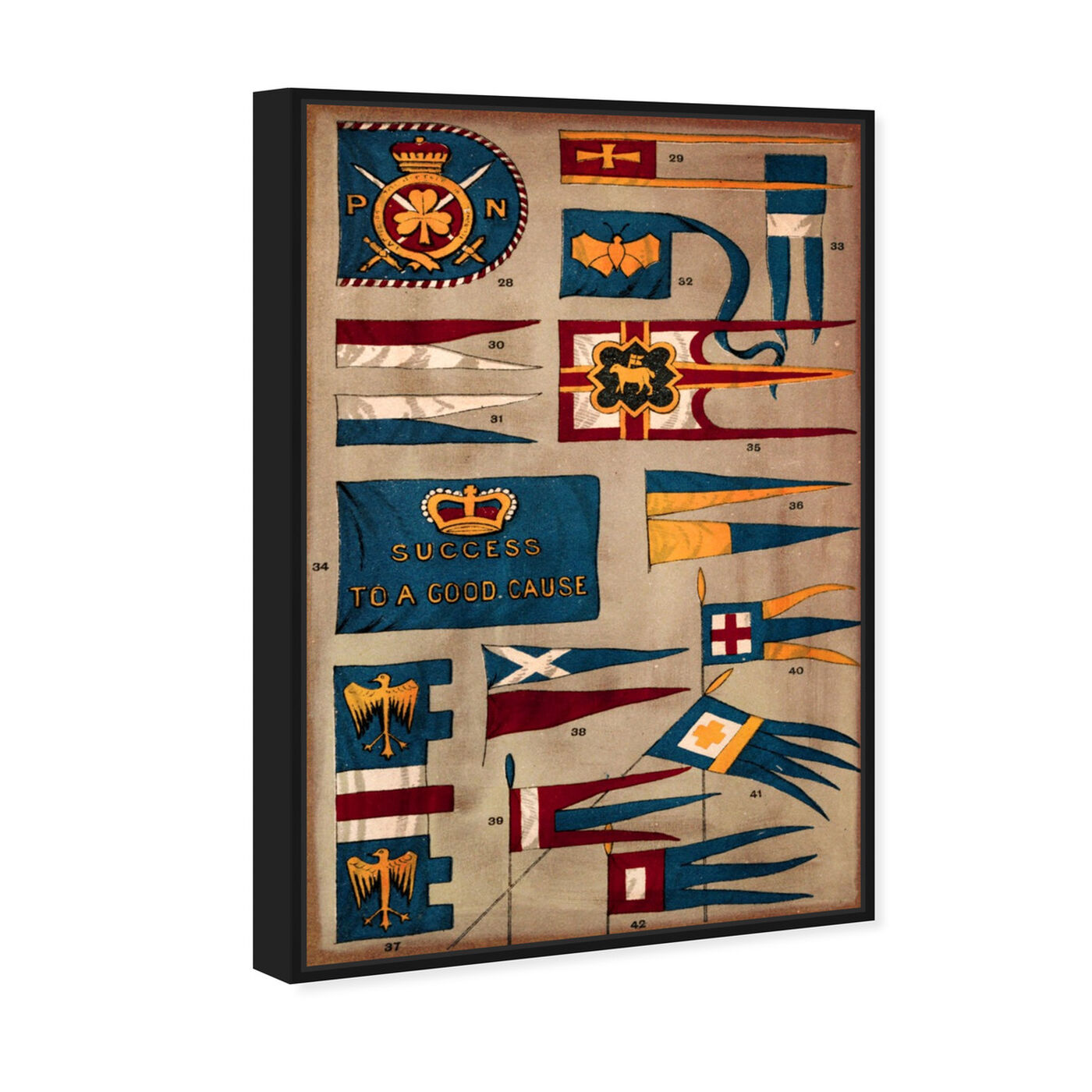 Angled view of Kingdom Flags featuring maps and flags and flags art.