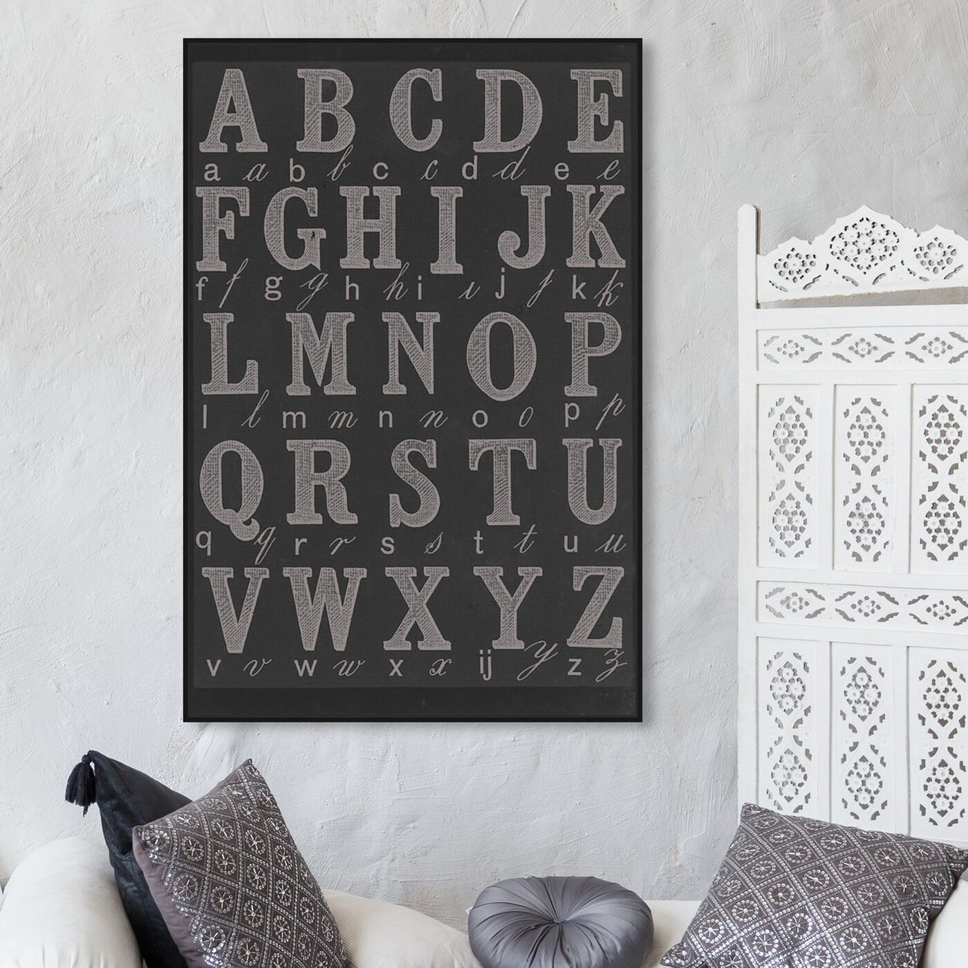 Hanging view of La Cursive Grey featuring typography and quotes and letters and calligraphy art.