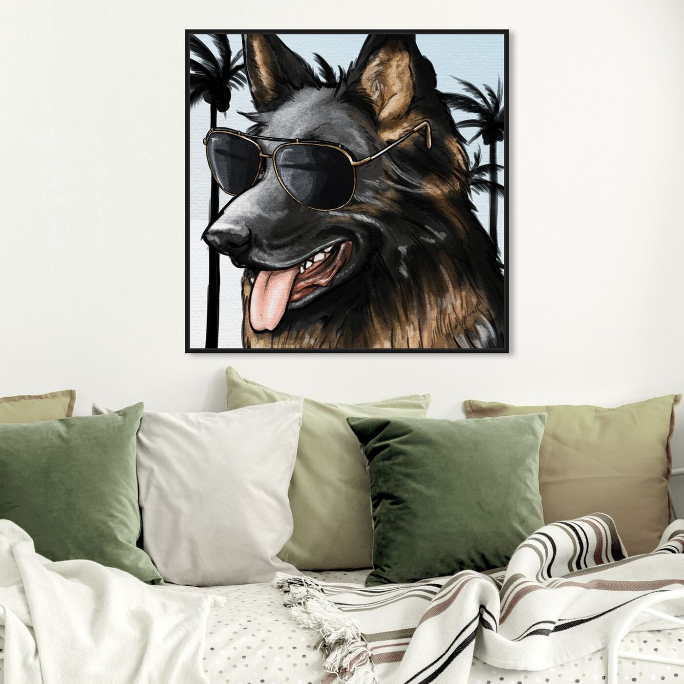 Hanging view of German Shephard Palm Glam featuring animals and dogs and puppies art.