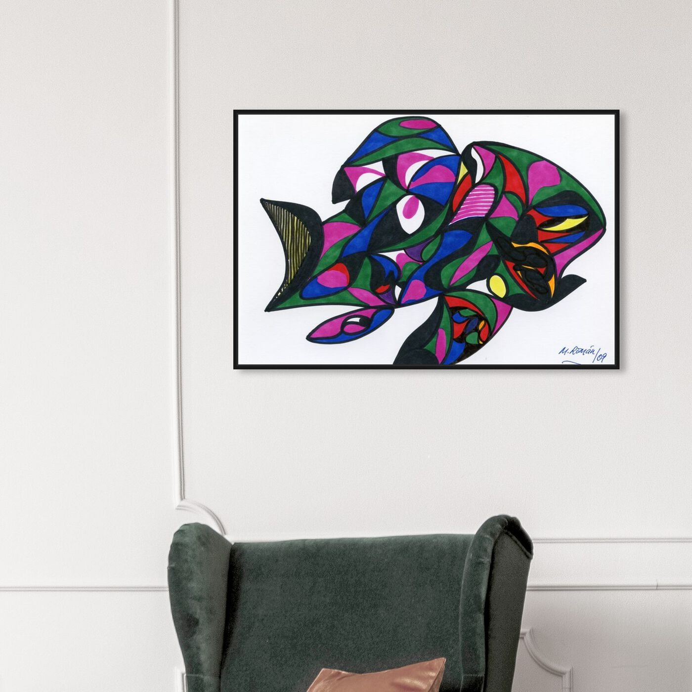 Hanging view of Colorful Goldfish featuring abstract and geometric art.