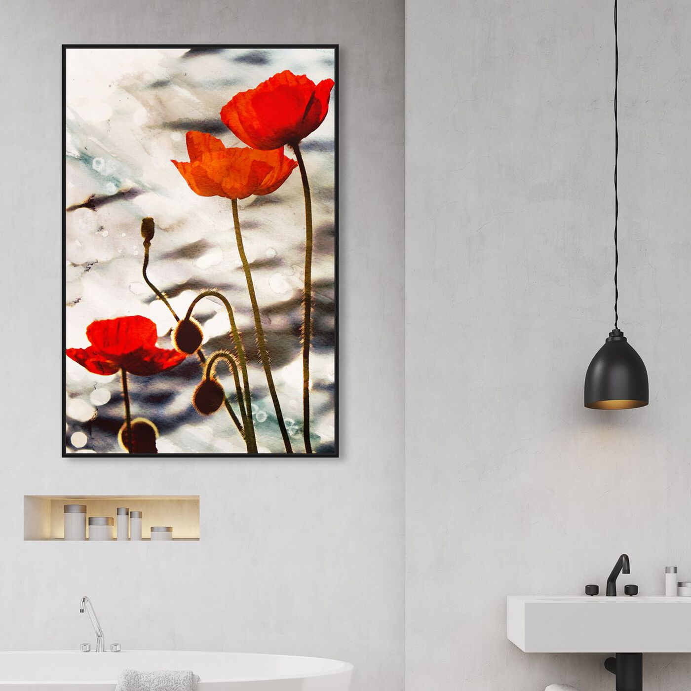 Hanging view of Poppy Dusk featuring floral and botanical and florals art.