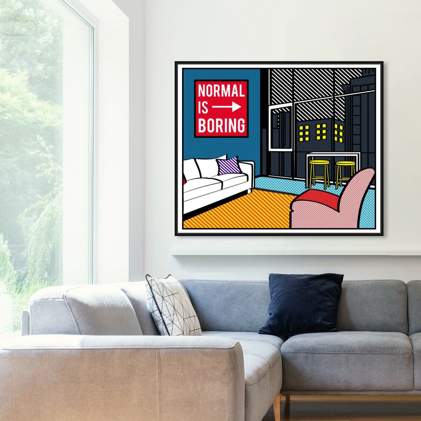 Hanging view of Living In The City featuring advertising and comics art.