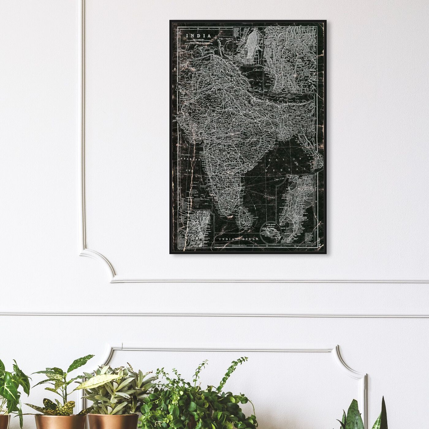 Hanging view of India 1892 Map featuring maps and flags and asian countries maps art.