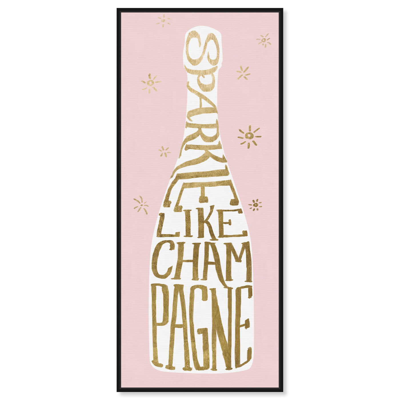Front view of Sparkle Like Champagne Pink featuring drinks and spirits and champagne art.
