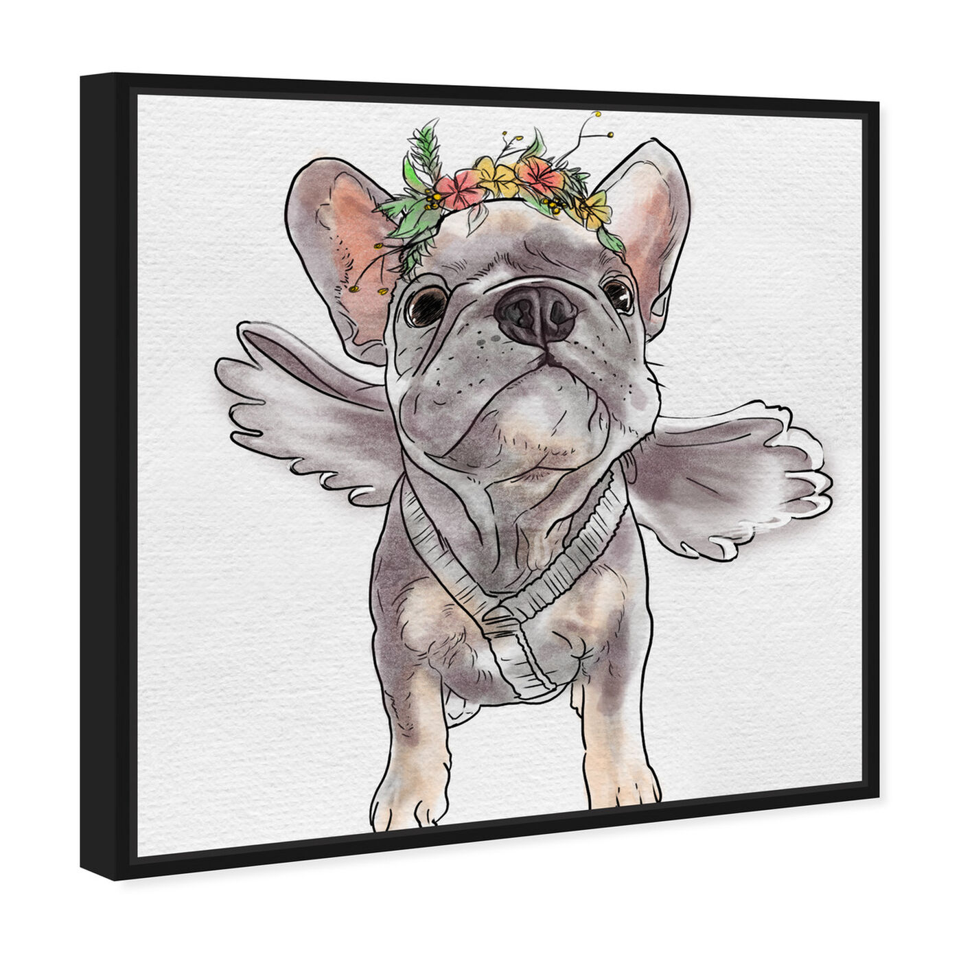 Angled view of Frenchie Angel featuring animals and dogs and puppies art.