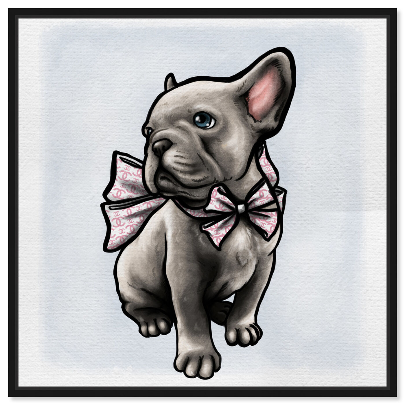 Front view of Frenchie with Bow featuring animals and dogs and puppies art.