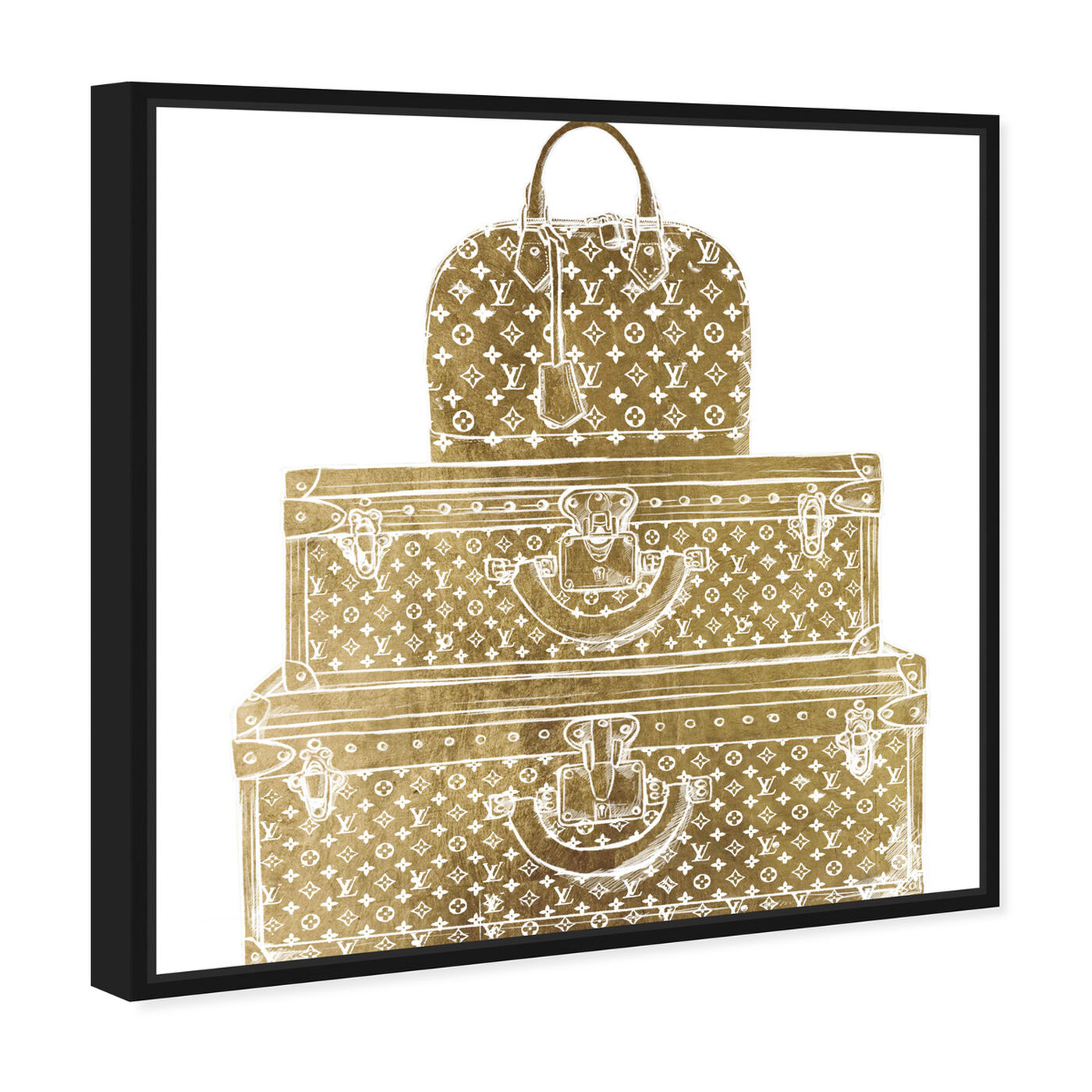 Angled view of Royal Bag and Luggage Gold diecut featuring fashion and glam and travel essentials art.