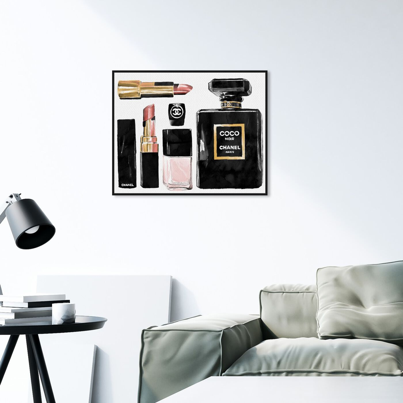 Hanging view of Essential Coco I featuring fashion and glam and perfumes art.