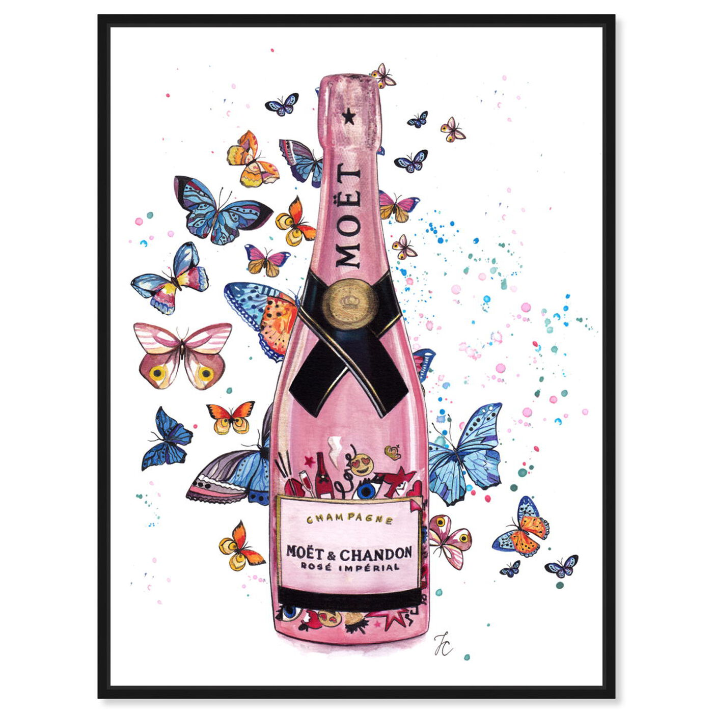 Front view of Doll Memories - Champagne in Pink featuring drinks and spirits and champagne art.