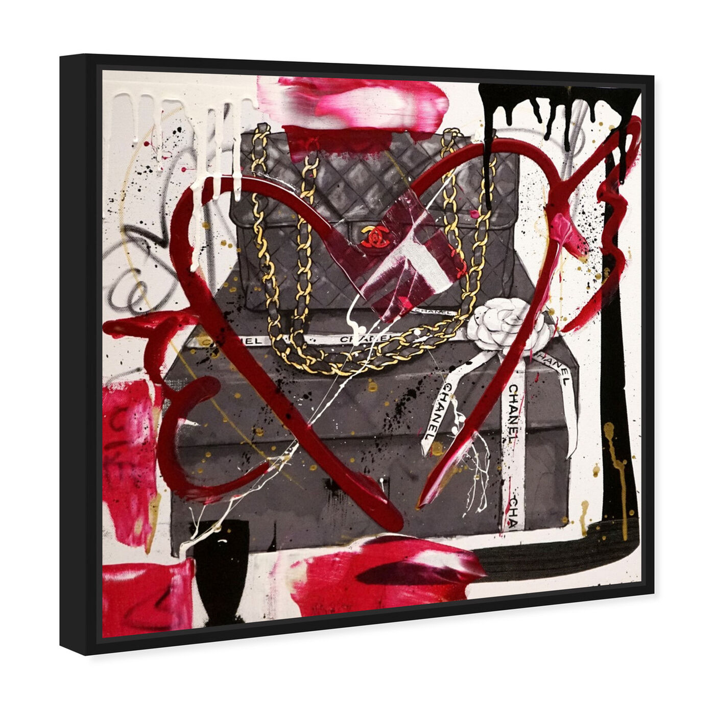 Angled view of Boxed Beauty Remix featuring fashion and glam and handbags art.