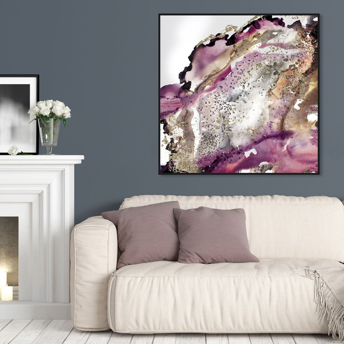 Hanging view of Purple Bang I featuring abstract and watercolor art.